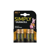 Duracell Simply Alkaline AA Batteries LR6 / MN1500 4 Units