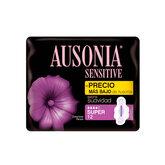 Ausonia Sensitive Super Avec Ailettes Serviettes Hygiéniques 12 Unités