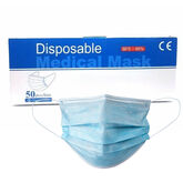 Blue Face Mask 3ply Disposable Elastic Loop Pack 50 pcs