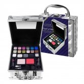 Markwins Color Workshop Travel In Color Silver Eyeshadow Case + Brushes + Lips