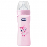 Chicco Well-Being Silicone Biberon PP Medium Flux Rose 2m+ 250ml