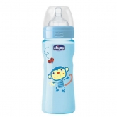 Chicco Well-Being Silicone Biberon PP Fast Flux Blue 4m+ 330ml