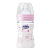 Chicco Well-Being Baby Bottle PP Silicone Normal Flux Rose 0m+ 150ml