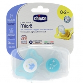 Chicco Sucette Physio Micro Silicone 0-2m 2 Unités